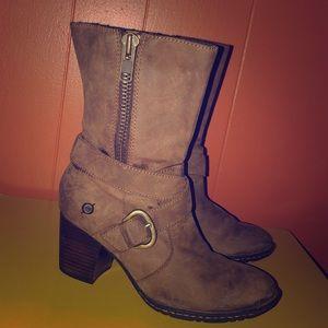 Born Brown Nubuck Leather Zipper Boots 7